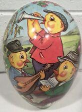 "Vintage Paper Mache Easter Egg Germany Chicks Musical Band 10"" Large"