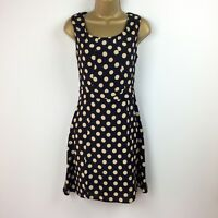 M&S Limited Collection Womens Dress UK Size 10 Polka Dot Spotted Cream Black