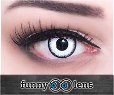 Fun FARBIGE Crazy Kontaktlinsen Lunatic Halloween Behälter weiß schwarz