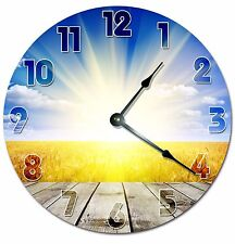 "FIELD WITH SUN Clock - Large 10.5"" Wall Clock - 2037"