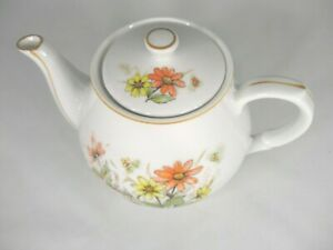 "Vintage Floral  Teapot Marked ""Japan"" in Red Print"