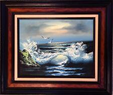 CALIFORNIA COASTAL SEASCAPE OCEAN WAVES BEACH DUSK SUNSET MCM MODERNIST PAINTING