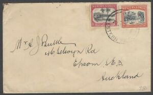 Nauru 19351d & 2d on cover to New Zealand