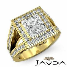Princess Diamond GIA H VS2 18k Yellow Gold Halo Pave Set Engagement Ring 2.5ct