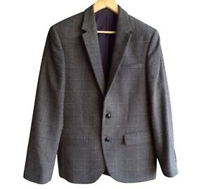 """Marks and Spencer Collection Mens Check Jacket Size 38"""" Wool Blend Charcoal"""