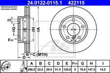 2x Bremsscheibe für Bremsanlage Vorderachse ATE 24.0122-0115.1