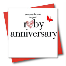 Ruby Wedding Anniversary Card, Pink Heart, fabric butterfly Embellished