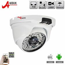 ANRAN 2MP HD Outdoor IP Dome Camera 1080P PoE Network Camera 48IR LEDs Onvif