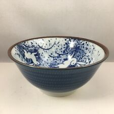 "SET of 2 Japanese 6""D Porcelain Rice Soup Bowls Blue Moon Rabbits Made in Japan"