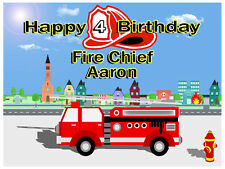Fire Engine Edible Icing Cake Image Birthday Party A4 Personalised Topper