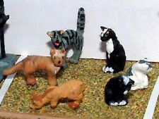 6 Cats L26p PAINTED O Scale Model 1/43 Animals Metal