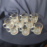 Set of 9 Christmas Holly Clear Glass Red Berry Coffee Cups Mugs USA