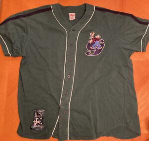 Vintage GOOFY The Disney Store Baseball Jersey Shirt Sz Large Green