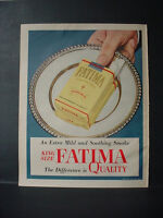 1953 Fatima King Size Cigarette Great Full Page Color Vintage Print Ad 11084