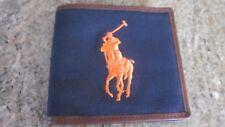 NWT Ralph Lauren Polo Big Pony Leather Canvas Bifold NAVY  LAST ONE!!!!!