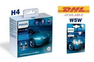 Philips H4 LED Ultinon Essential 11342UE2X2 Car Headlight Bulbs 6500K & T10