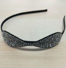 CERCHIETTO capelli elegante accessorio per capelli in metallo nero con  strass c97db27faa61