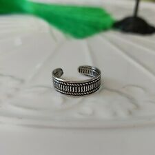 Ribbed Band Toe Ring Solid 925 Sterling Silver