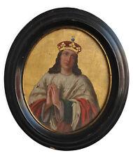 peinture religieuse en médaillon époque XIXème cadre noir