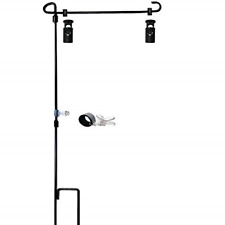 """Garden Flag Stand-Holder-Pole with Garden Flag Stopper and Anti-Wind Clip 36.3""""H"""