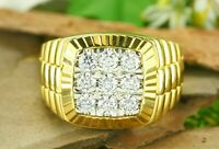 Vintage & Estate Jewelry Men's 18K Yellow Gold Over Large Diamond Cluster Ring