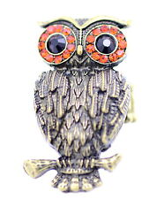 Adjustable vintage style crystal eye bronze owl stretch ring