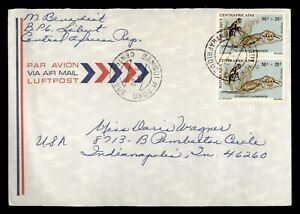 DR WHO 1980 CENTRAL AFRICAN REPUBLIC BANGUI AIRMAIL TO USA SEMI POST  f63707