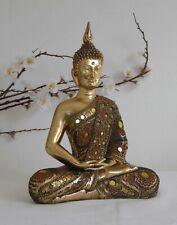 Large Gold Meditating Thai Buddha Figurine Ornament Statue Decorative Gem 28cm