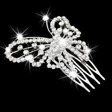 Wedding Bridal Prom Crystal Butterfly Hair Comb Slide Headpiece Tiara Silver
