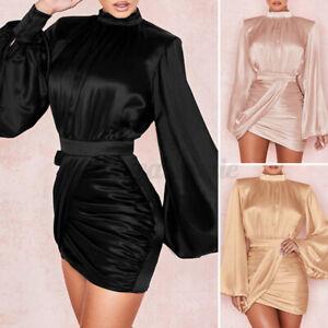 UK Women High Neck Formal Midi Dress Ladies Long Sleeve Silky Bodycon Dress 8-24