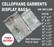 More details for cellophane clear cello bags display garment self adhesive peel&seal plastic opp