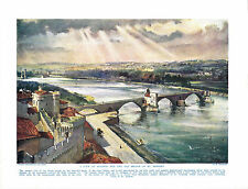 A View of Avignon and the Bridge of St. Benezet, France Antique Print circa 1916