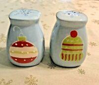 Christmas Salt Pepper Shaker Set Blue White Red Ornaments Snowflake FSG Ceramics