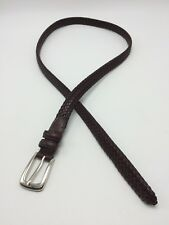 Dockers Dark Brown Braided Faux Leather BELT Womens Large Silver Buckle 40.5""