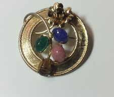 NEW Old Stock VINTAGE  CIRCLE PIN W/4 CARVED GEMSTONES & CARVED ROSE