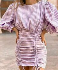 AUTHENTIC ZARA MAUVE LILAC & WHITE CHECK GINGHAM MINI DRESS PUFF SLEEVES SIZE L