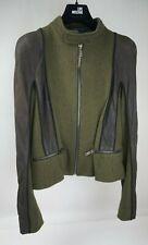 Haider Ackermann Wool Leather Women's Green Jacket Size 38 FR / US 6