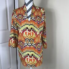 Natori Womens Orange Yellow Pink Aztec Print V-neck 3/4 Sleeve Tunic Size M