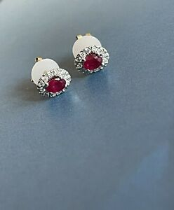 9ct Yellow Gold Diamond Ruby Earrings Oval Halo Cluster Studs
