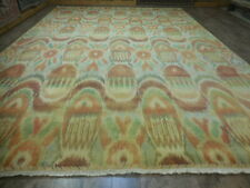 Super Fine Abstract Transitional Oushak savaran Decore Ikat Design Rug 10x14