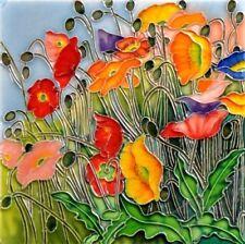 En Vogue Multi- Colored Poppies Flora Land - Decorative Ceramic Art Tile-8x8 in.