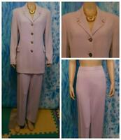 ST JOHN COLLECTION Lilac Lavender JACKET Pants L 14 12 16 2pc Suit Button Collar