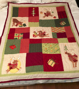 "Coldwater Creek REINDEER Red, Green, Tan 50 x 60"" Patchwork Quilt + PIllow  NWT"
