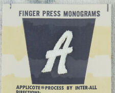 "Fancy Script Letter ""A"" Monogram Uniform Small Embroidered Name Patch Applique"