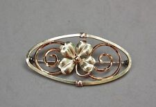 Diana Kremetz Pin Brooch Two-Tone Rose Yellow Gold Fill Oval Shamrock Good Luck