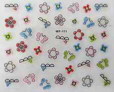 Nail art manucure stickers autocollants ongles: papillons fleurs multicolores