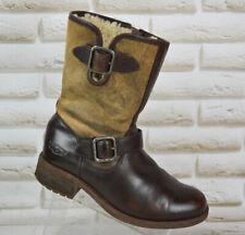 UGG Australia Chaney Womens Brown Leather Biker Mid Boots Zip Size 4.5 UK 37 EU
