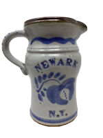 Vintage Harvey Salt Glazed Pottery Pitcher Newark NY Old Gray Ceramic