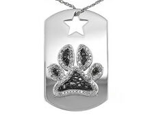 Tuxblack Diamond(Tm) .50ctw Round Rhodium Over Sterling Silver Dog Tag