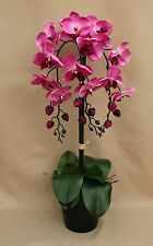 ARTIFICIAL SILK 3 PINK MOTH ORCHID & LEAFS PLANTED IN BLACK CERAMIC PLANT POT